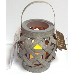 Lumineo Wicker Effect Indoor LED Candle Lantern Battery Operated & Timer - Grey