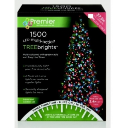 1500 LED Multi Action 8ft Christmas Tree Cluster Lights & Timer Multi Coloured