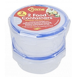 2 pack Home Connection Food Containers Round Clip Lock Lid 200ml