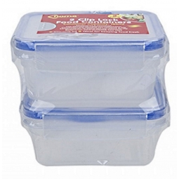 2 pack Home Connection Food Containers Rectangular Clip Lock Lid 180ml