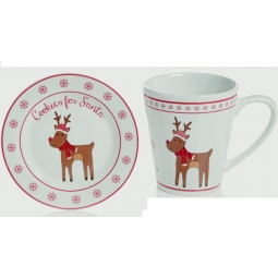 Premier Kids Christmas Eve Plate & Mug Set Cookies Milk For Santa - Rudolph