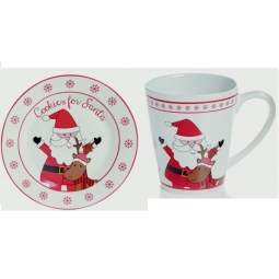 Premier Kids Christmas Eve Plate & Mug Set Cookies Milk For Santa - Santa Design