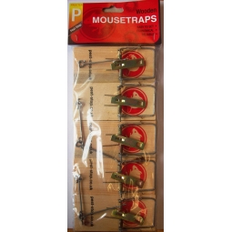Pest-Stop Pack Of 5 Wooden Mouse Traps - Easy To Set Up - Reliable Economical