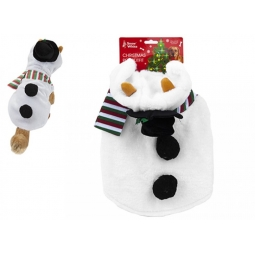 Small Plush Snowman Pet Dog Christmas Outfit Coat Jacket Body Warmer 30cm 12 Inch