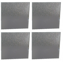 Set Of 4 Small Square Glass Silver Glitter Mirror Plates Candle Holder 10cm