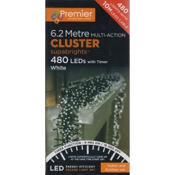 480 Premier White LED Multi Action Christmas Cluster Timer Lights 6.2M