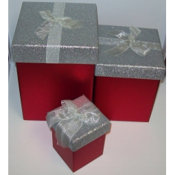Set Of 3 Red Glitter Christmas Boxes With Red Bow And Silver Foil Base Glitter