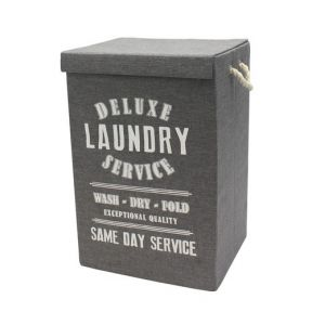 Deluxe 85L Vintage Fabric Folding Laundry Hamper Basket Rope Handles-Dark Grey