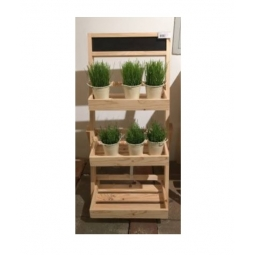 Natural 3 Tier Wooden Etagere Shelving Unit Chalk Board Herb Pot Stand Wedding