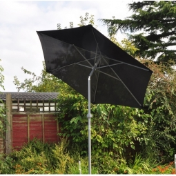 2M Black Aluminium Lightweight Garden Wind Up Parasol With Tilt Action