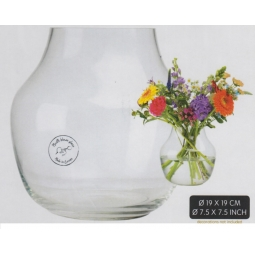 Decoris 19cm Aberdeen Clear Wide Glass Vase Home Decoration Flower Display