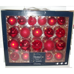 42 Real Glass Christmas Baubles Decorations Glitter Shiny Christmas Red Mix
