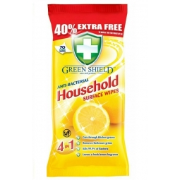 Green Shield Antibacterial Household Surface Cleaning 70 Large Wipes Kills Germs