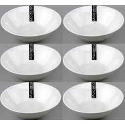 6 x White 7 Inch Coupe Porcelain Dinner Serving Bowls Soup Pasta Salad Side Dish