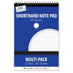 3 Pack Just Stationery Shorthand Note Pad 50 Sheets Per Pad Lined Sheets