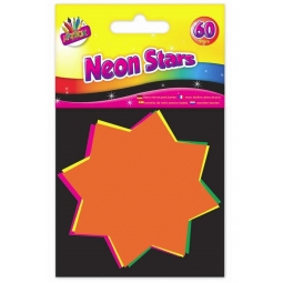 Pack Of 60 Small Neon Card Stars Flourescent Flash Pricing Tags Labeling 7.5cm