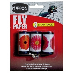 Nippon Pack Of 3 Floral Sticky Fly Papers Flying Insect Trap Pesticide Free
