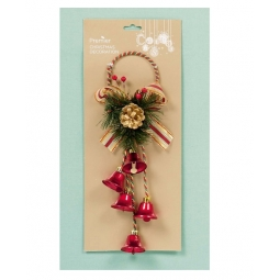 Premier Decorative Christmas Jingle Bell Door Hanger Wreath Accessory - Red