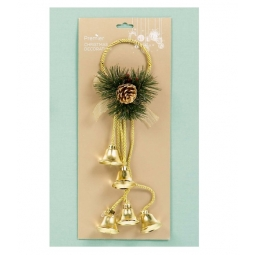 Premier Decorative Christmas Jingle Bell Door Hanger Wreath Accessory - Gold