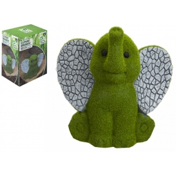 Small Flocked Elephant Garden Patio Ornament Grass Effect Animal Statue 16cm