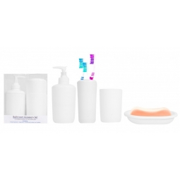 White 4 Piece Bathroom Accessory Set Soap Dispenser & Dish Toothbrush Tumbler