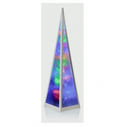 Premier Multi Coloured Holographic Light Up LED Pyramid Tower Silver Frame 45cm