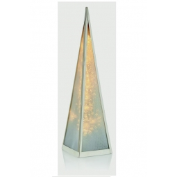 Premier Warm White Holographic Light Up LED Pyramid Tower Silver Frame 45cm