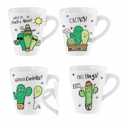 Set Of 4 Novelty Funny Cactus 11oz Porcelain Tea Coffee Drinking Mugs Humor