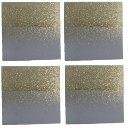 Set Of 4 Small Square Glass Gold Glitter Mirror Plates Candle Holder 10cm