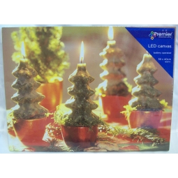 Premier Battery LED Light Up Christmas Canvas 30cm x 40cm Christmas Tree Candles