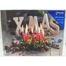 Premier Battery LED Light Up Christmas Canvas 30cm x 40cm Xmas Candle Wreath