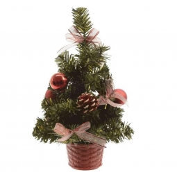 Mini Table Top Centerpiece Artificial Decoratied Christmas Tree In Basket - Red