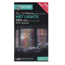 Premier 3.5M x 1.2M Multi Action LED Christmas Net Lights 360 LED - Multi Colour