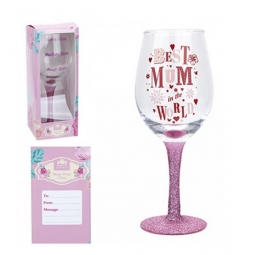 Mothers Day Wine Glass Best Mum In The World Glitter Stem 20cm In Display Box