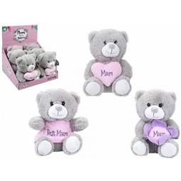 1 Mothers Day Super Soft Teddy Bear 18cm Grey Bear With Mum
