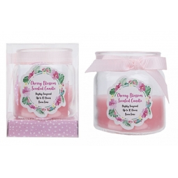 Mothers Day Cherry Blossom Scented Candle In Jar With Bow 10H Burn Time