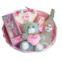 Mothers Day Hamper Basket Kit Mum LED Wine Bottle Wine Glass Teddy Candle Heart