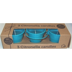 Set Of 3 Citronella Wax Candles In Decorative Coloured Iron Bucket 5H - Blue