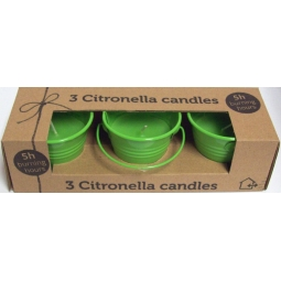 Set Of 3 Citronella Wax Candles In Decorative Coloured Iron Bucket 5H - Green