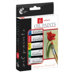 Chiltern Arts Pack Of 6 Oil Paints Artist Craft Paint Mixed Colours 12ml
