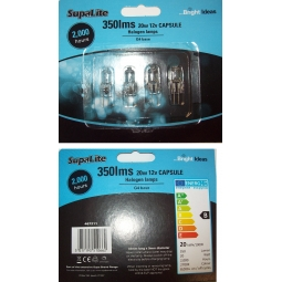 4 Pack SupaLite Bright Ideas 350lms 20W 12V Capsule Halogen Lamps G4 Base 2000 Hours