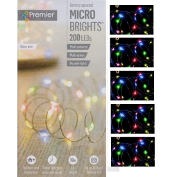 Premier 200 LED Battery Micro Brights Timer String Lights 10M Multi Coloured