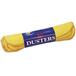 Globe Mill Pack Of 10 Yellow Dusters Cloths Strong Cleaning Dust Wipes