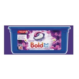 Bold 3 in 1 Washing Capsules Pods 20 Wash Lavender Camomile Cleans Softens