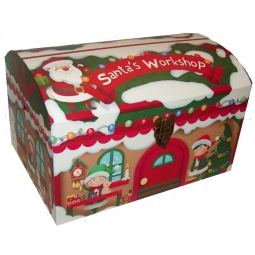 Large Cute Santas Workshop Christmas Eve Chest Treasure Box 50cm x 35cm x 30cm