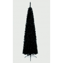 Plain Black Artificial Christmas Pencil Pine Tree Festive Decoration 200cm