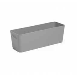 Grey Wham Plastic Slim Deep Rectangle Studio Handy Storage Basket 30cm x 10cm 2L