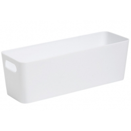 White Plastic Slim Deep Rectangle Studio Handy Storage Basket 30cm x 10cm 2L