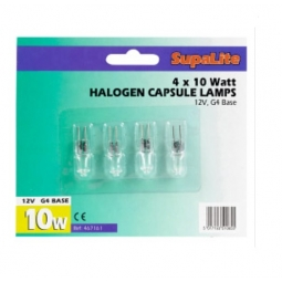 Pack Of 4 SupaLite Halogen Capsule Lamp Bulbs G4 Base 10W 135lms B Rating Energy