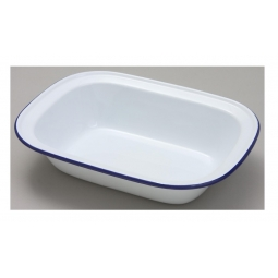 Falcon 18cm Oblong Enamel Pie Dish Non Stick Oven Baking Dish White Blue Rim